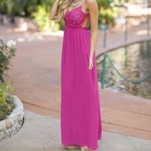 Open Back Maxi Dress w/ Crochet Lace Top
